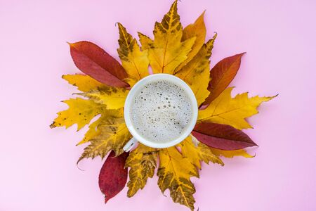 Autumn composition. mug of cappuccino and yellow and red leaves on a pink background. autumn background. flat lay, top view, copy space