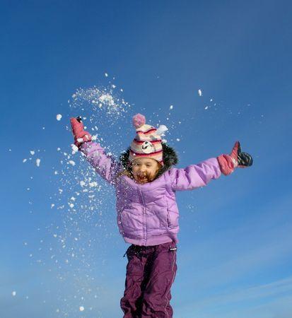 jumping winter girl Stock Photo - 310586