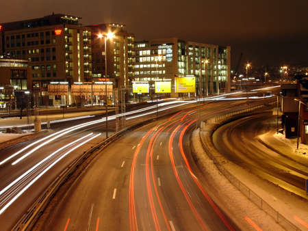 oslo: Traffic at night with long exposure, Oslo, Norway Stock Photo