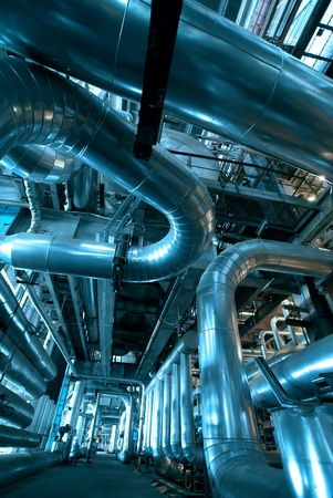 Industrial zone, Steel pipelines in blue tones   Publikacyjne