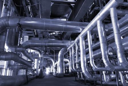 Industrial zone, Steel pipelines in blue tones   Editorial
