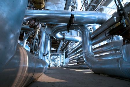 industrial ladders, cables, pipelines in blue tones Standard-Bild