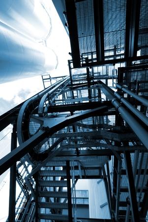 industrial ladders, cables, pipelines in blue tones Zdjęcie Seryjne