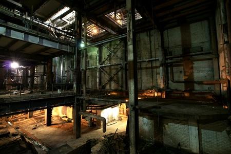 Old creepy, dark, decaying, destructive, dirty factory Standard-Bild
