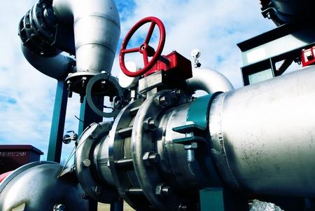 Industrial zone, Steel pipelines in blue tones   Standard-Bild