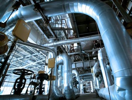 Industrial zone, Steel Pipelines und Kabeln in Blautönen Standard-Bild - 17852914