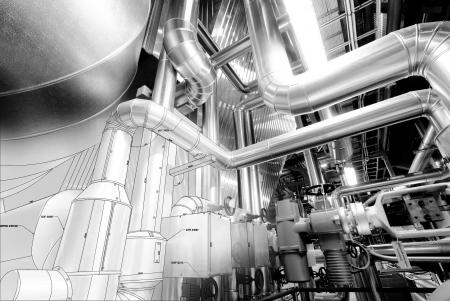 Schwarz-Weiß-Skizze von Ausrüstung, Kabeln und Rohrleitungen, wie sie sich in einem modernen Industriekraftwerk befinden