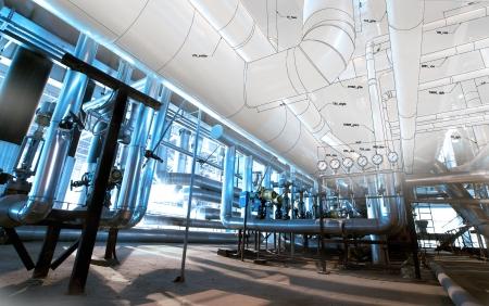 Schets van apparatuur, kabels en leidingen als de binnenkant van een moderne industriële elektriciteitscentrale Stockfoto