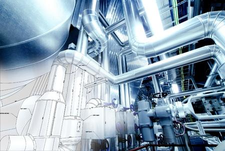 機器、ケーブル、現代産業発電所の中にある配管のスケッチ
