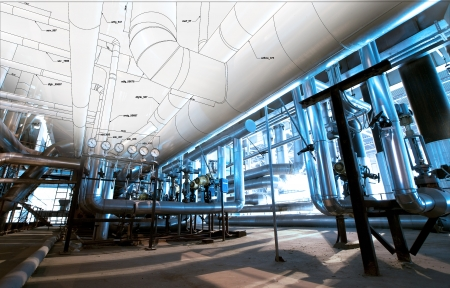 Schets van piping ontwerp vermengd met industriële apparatuur foto