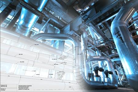산업 장비의 사진과 함께 혼합 배관 설계의 스케치
