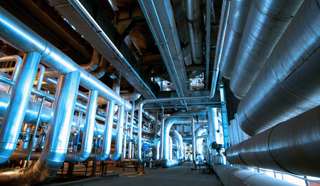 Industrial zone, Steel pipelines in blue tones Standard-Bild