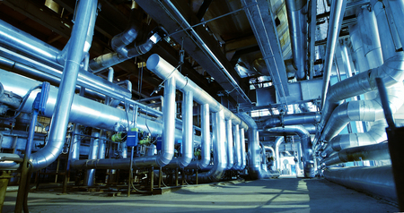 Industrial zone, Steel pipelines and equipment in blue tones Standard-Bild