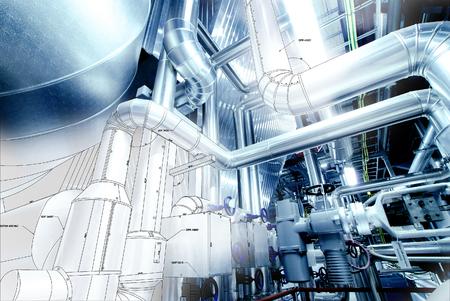 장비, 케이블 및 배관의 스케치는 현대 산업 발전소 내부에 발견