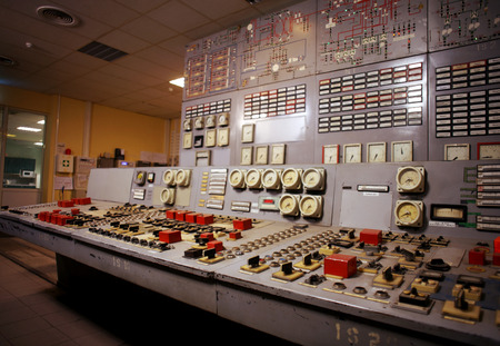 Control room of an old power generation plant Stockfoto