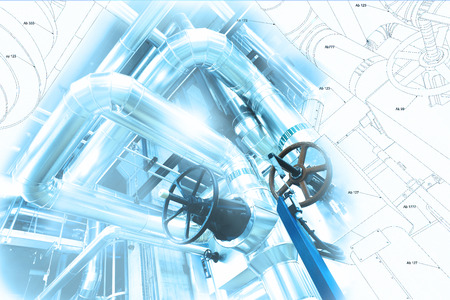 Sketch of piping design mixed with industrial equipment photo Stock Photo