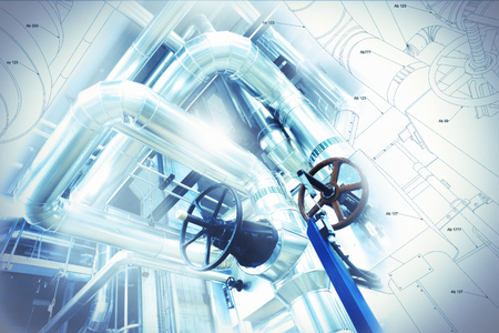 Sketch of piping design mixed with industrial equipment photo Stockfoto
