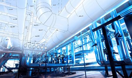 Schets van Apparatuur, kabels en leidingen, zoals de binnenkant van een moderne industriële elektriciteitscentrale