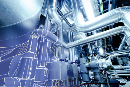 Sketch of piping design mixed with  power plant photo Stock Photo