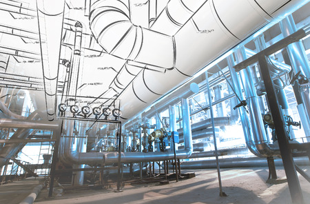 Sketch of piping design mixed with industrial equipment photo Archivio Fotografico