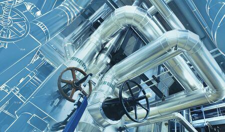 Matériel, les câbles et les canalisations de l'intérieur d'une puissance industrielle moderne usine