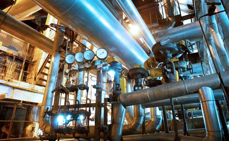 Industrial zone, Steel pipelines in blue tones 스톡 콘텐츠