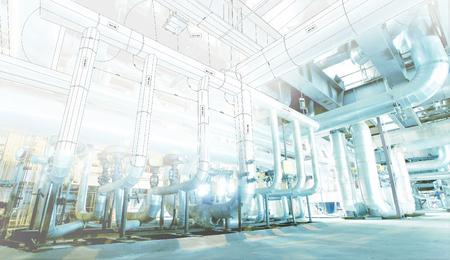 Equipo, cables y tuberías como en el interior de una moderna planta de energía industrial  Foto de archivo