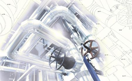 Schets van piping ontwerp gemengd met industriële apparatuur foto Redactioneel