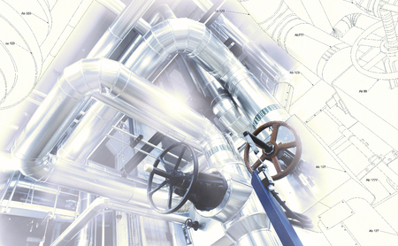 Sketch of piping design mixed with industrial equipment photo Editorial