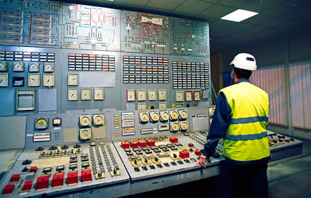 Work place in the system control room 스톡 콘텐츠