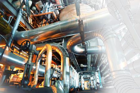 computer CAD-ontwerp van pijpleidingen voor de moderne industriële elektriciteitscentrale Stockfoto
