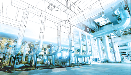 wireframe computer cad design of pipelines for modern industrial power plant