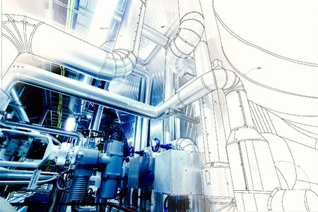 wireframe computer CAD-ontwerp van pijpleidingen voor de moderne industriële elektriciteitscentrale