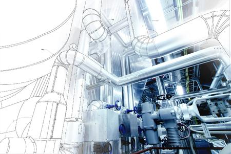 현대 산업 발전소에 대한 파이프 라인의 와이어 프레임 컴퓨터 CAD 설계 스톡 콘텐츠 - 54297701