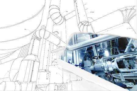 wireframe computer CAD-ontwerp van pijpleidingen voor de moderne industriële elektriciteitscentrale Stockfoto