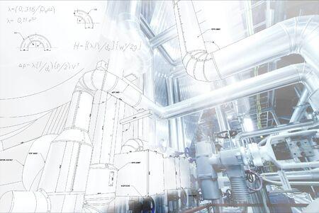 Bauplan Zeichnung mit mathematischen Gleichungen kombiniert mit einem Bild von equpment
