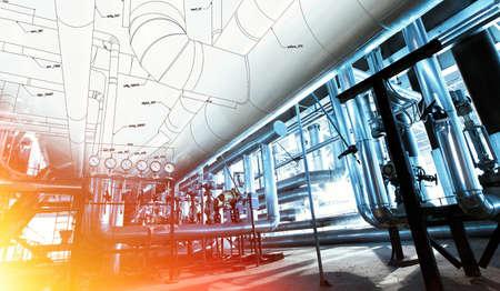 Schets van piping ontwerp gemengd met industriële apparatuur foto Stockfoto