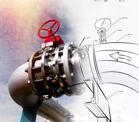 Croquis de la conception de la tuyauterie mélangé avec des pipelines d'acier et les vannes contre le ciel bleu photo