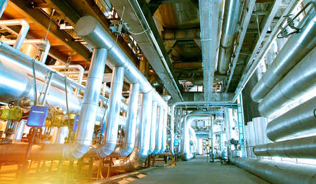 Industrial zone, Steel pipelines and valves 스톡 콘텐츠