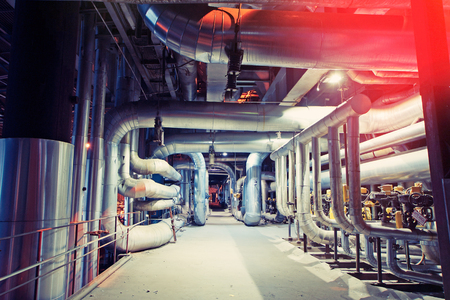 Industrial Steel pipelines, valves, cables and walkways  Translation from estonian of text on valves: Do not open. People are working Imagens