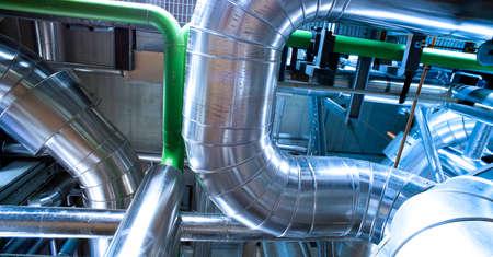 Industrial zone, Steel pipelines and equipment Standard-Bild