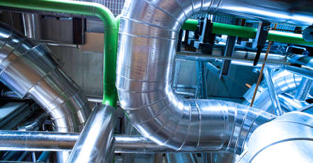Industrial zone, Steel pipelines and equipment Stock fotó