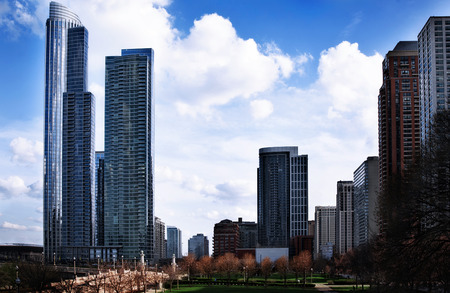 Photo of tall buildings from South Loop in Chicago  Cityscape