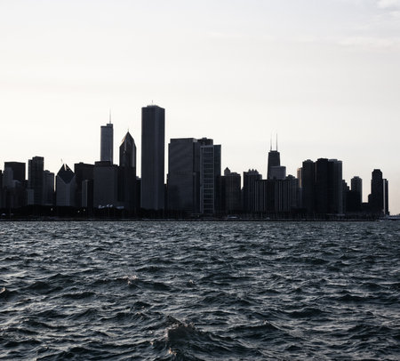 Chicago city downtown urban skyline at dusk with skyscrapers over Lake Michigan  .Night view Chicago. Usa