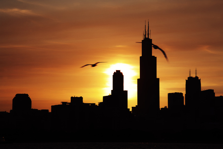 water s edge: Chicago city downtown urban skyline at dusk on the Sunset Stock Photo