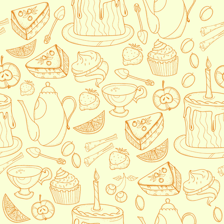 Seamless tea background with cakes, teapots, cups, candies. Time for tea and teapot, sweet pastries seamless background, doodle tea party hand drawn sketch