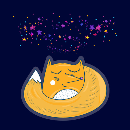 Cute fox sleeps under the stellar sky illustration for children Illustration