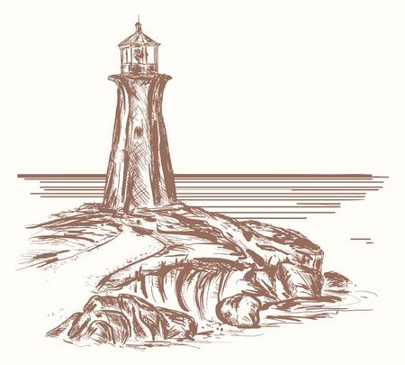 Vuurtoren hand getrokken schets. Vuurtoren op rotsachtige kust van overzees, tekening