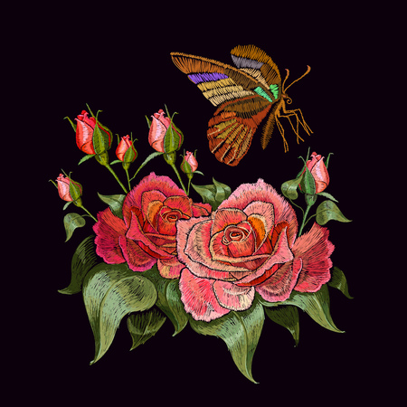 Embroidery butterfly and roses. Beautiful butterfly and roses classical embroidery on black background. Template clothes, textiles, t-shirt design