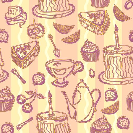 Tea party vintage seamless pattern with hand drawn tea. Teapot, teaspoon, sweet pie seamless pattern vector Ilustrace